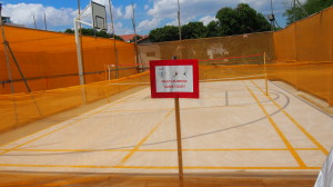 Multipurpose court made out of precast planks constructed with concrete