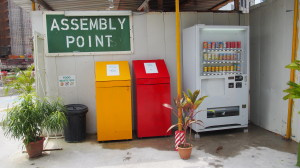 Recycling bins made out of recycled construction material