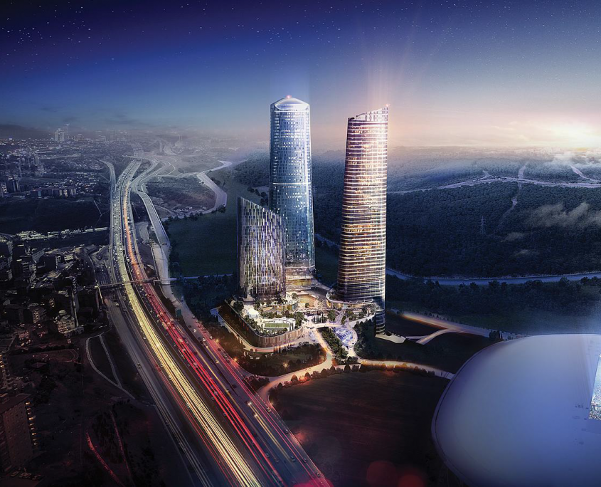 """Skyland – All-in-One at the Heart of Istanbul"": at 284 m height each, the Skyland Office Tower (image r.) and Residence Tower will be Turkey's tallest buildings upon completion.  Photo: Eroğlu"