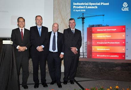QBE executives launch the new Industrial Special Plant insurance package in Singapore. From left to right: James Yong, General Manager - Distribution, QBE Singapore; Karl Hamann, Chief Executive Officer, QBE Singapore; Kevin Guerin, Manager, Underwriting Agencies of Australia, and Mark Maytom, Technical Manager, Underwriting Agencies of Australia.