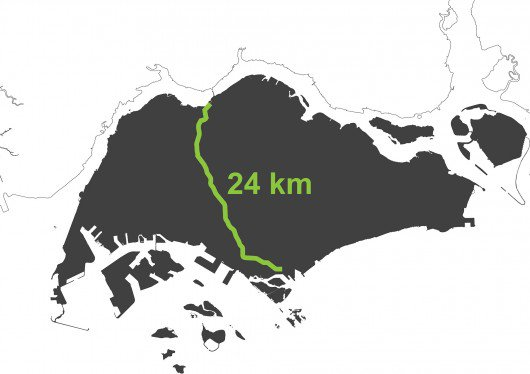 Map of the 24km Singapore Rail Corridor. Image Courtesy of OMA