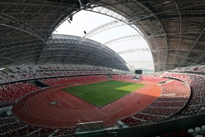 Stunning retracting roof at Singapore Sports Hub in action. Image courtesy of Arup.