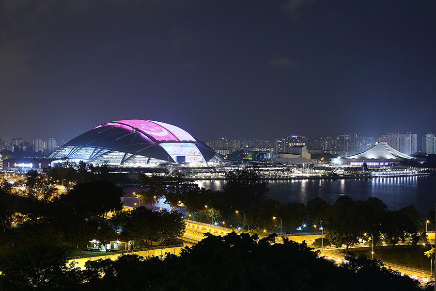 Singapore Sports Hub shines in the night. Image courtesy of Arup.