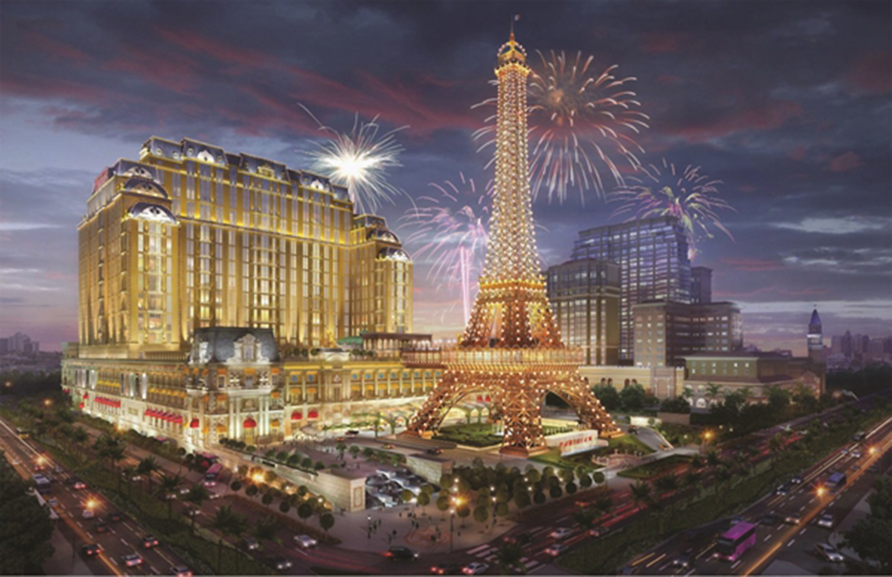 An artist's rendering depicts The Parisian Macao, slated to open in the second half of 2016. Image courtesy of Sands China Ltd