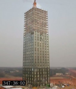 Broad Sustainable Building's tower under construction. Image courtesy of BROAD Group.