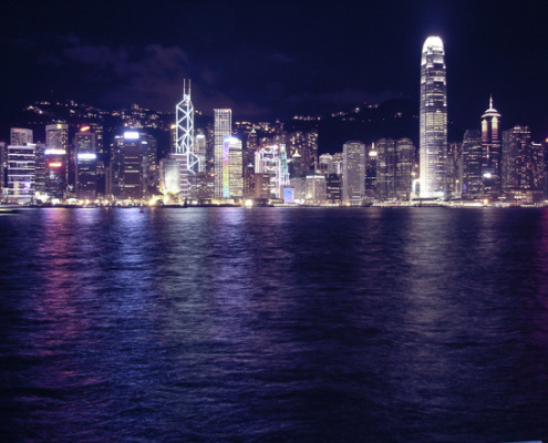 A view of the Hong Kong city scape.