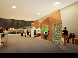 Artist's impression of PSB Academy's new foyer for both students and staff to gather.