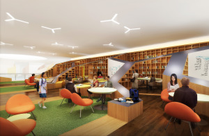 Artist's impression of the library, which provides students ample spaces for discussions in between classes, or for self-study.