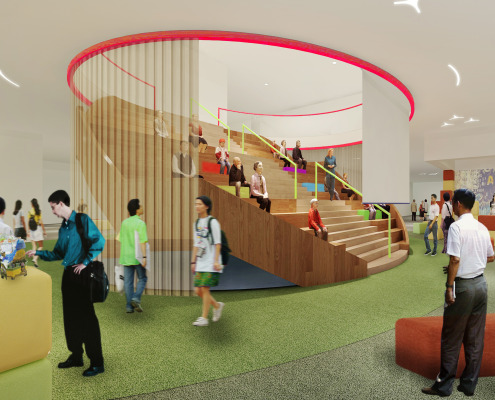 Artist's impression of the new town hall, designed to encourage students' exploration and discovery.
