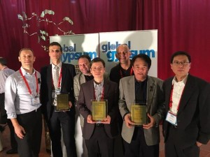 The USG Boral team receiving the Global Gypsum Awards in Bangkok. From L-R: Christophe Blanc (Product and Systems Development Director), Regis Humbert (Regional Manufacturing Director), Patrick Desmond (Vice President, Intellectual Property), Cesar Chan (Technology Program Director, R&D), Ivan Kovarik (General Manager, Thailand), Nimitr Damkham (Saraburi Plant Manager), David Song (Vice President, Plasterboard Category).